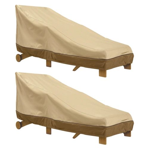 Veranda Water-Resistant 66 Inch Patio Day Chaise Lounge Chair Cover, 2 Pack