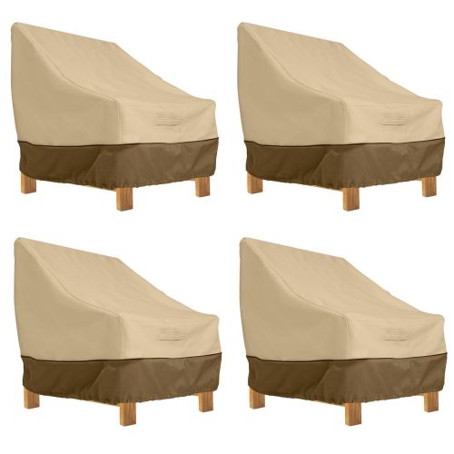Veranda Water-Resistant 38 Inch Deep Seated Patio Lounge Chair Cover, 4 Pack