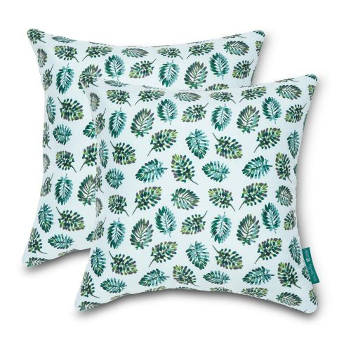 Vera Bradley by Classic Accessories  Water-Resistant Accent Pillows, 18 x 18 x 8 Inch, 2 Pack, Seawater Palm