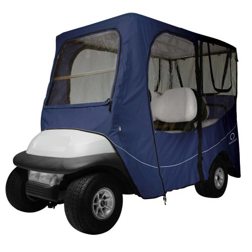 Fairway Long Roof 4-Person Deluxe Golf Cart Enclosure, Navy News with Clear Windows