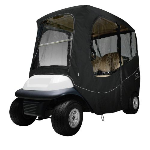 Fairway Short Roof 2-Person Deluxe Golf Cart Enclosure, Black with Clear Windows
