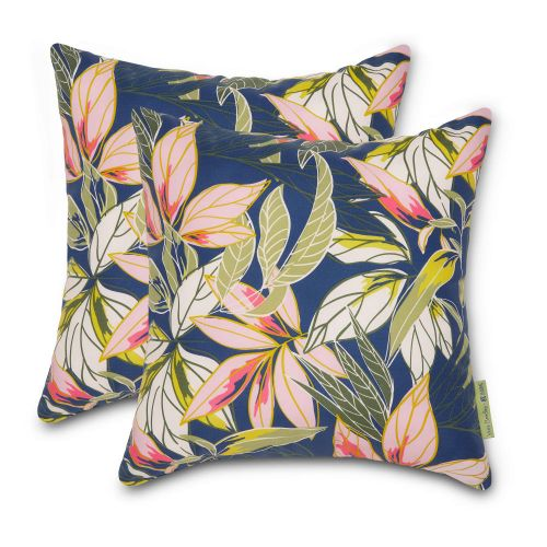 Vera Bradley by Classic Accessories  Water-Resistant Accent Pillows, 18 x 18 x 8 Inch, 2 Pack, Rain Forest Leaves Blue
