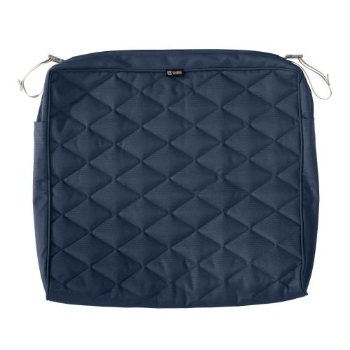 Montlake FadeSafe Water-Resistant 21 x 19 x 3 Inch Patio Quilted Seat Cushion Cover, Navy