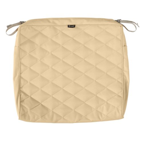 Montlake FadeSafe Water-Resistant 21 x 19 x 3 Inch Patio Quilted Seat Cushion Cover, Chamomile