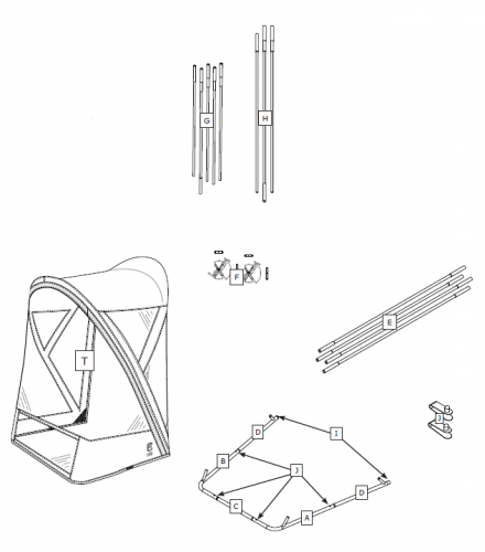 Deluxe Arched Snow Thrower Cab Parts-H - Front Hoop Fiberglass Rods (White)