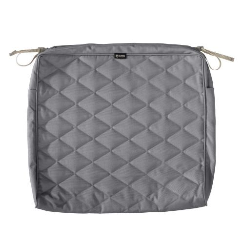 Montlake FadeSafe Water-Resistant 21 x 19 x 3 Inch Patio Quilted Seat Cushion Cover, Grey