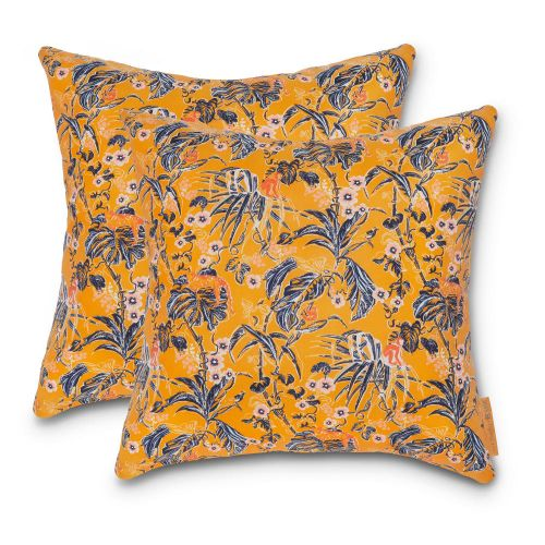 Vera Bradley by Classic Accessories  Water-Resistant Accent Pillows, 18 x 18 x 8 Inch, 2 Pack, Rain Forest Toile Gold