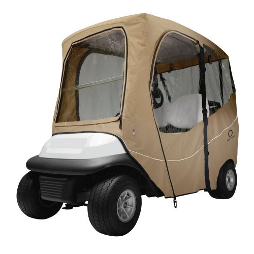 Fairway Short Roof 2-Person Deluxe Golf Cart Enclosure, Light Khaki with Clear Windows