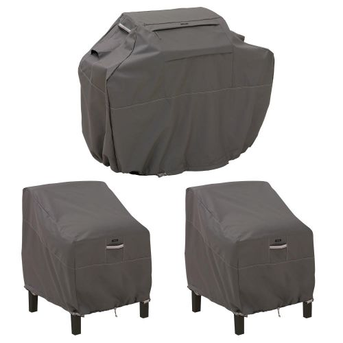 Ravenna Water-Resistant 64 Inch BBQ Grill Cover and 38 Inch Patio Lounge Chair Cover Bundle