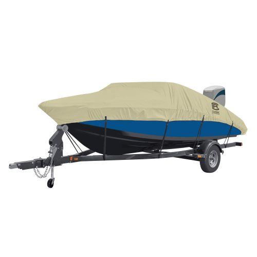 """DryGuard Waterproof Boat Cover, Fits Boats 17' - 19' L x 102""""  W, Trailerable Boat Cover with Bow, Windshield and Stern Reinforcement Panels, Model D"""