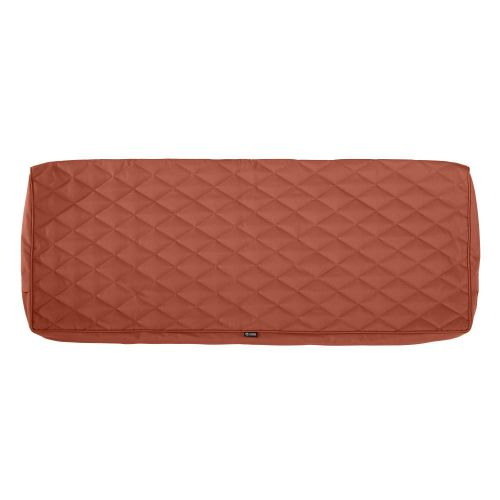 Montlake FadeSafe Water-Resistant 54 x 18 x 3 Inch Patio Bench/Settee Quilted Cushion Cover, Spice