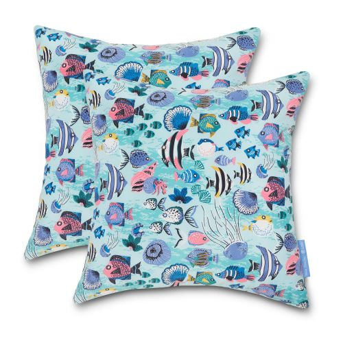 Vera Bradley by Classic Accessories  Water-Resistant Accent Pillows, 18 x 18 x 8 Inch, 2 Pack, Paisley Wave Fish