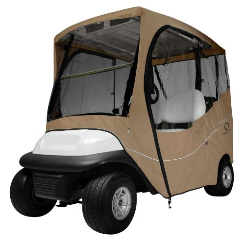 Fairway Short Roof 2-Person Travel Golf Cart Enclosure, Light Khaki with Clear Windows
