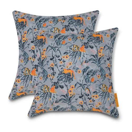 Vera Bradley by Classic Accessories  Water-Resistant Accent Pillows, 18 x 18 x 8 Inch, 2 Pack, Rain Forest Toile Gray/Gold