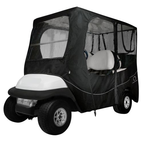 Fairway Long Roof 4-Person Deluxe Golf Cart Enclosure, Black with Clear Windows