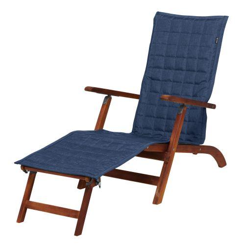 Montlake FadeSafe Water-Resistant 69 Inch Patio Steamer Chaise Slipcover, Heather Indigo
