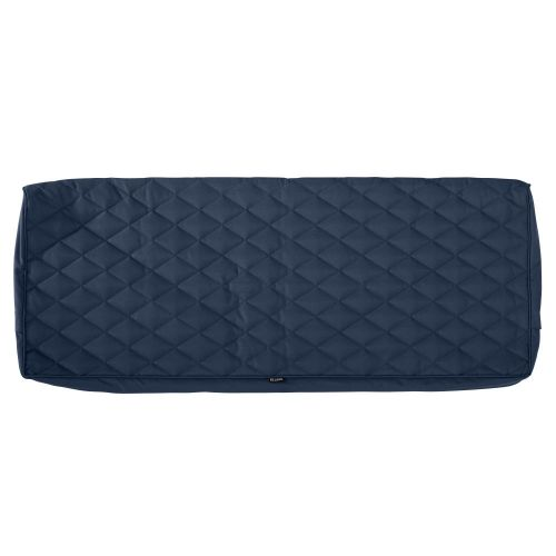 Montlake FadeSafe Water-Resistant 54 x 18 x 3 Inch Patio Bench/Settee Quilted Cushion Cover, Navy